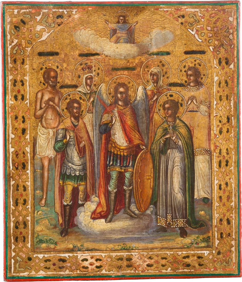 A FINELY PAINTED ICON SHOWING SELECTED SAINTS Russian,