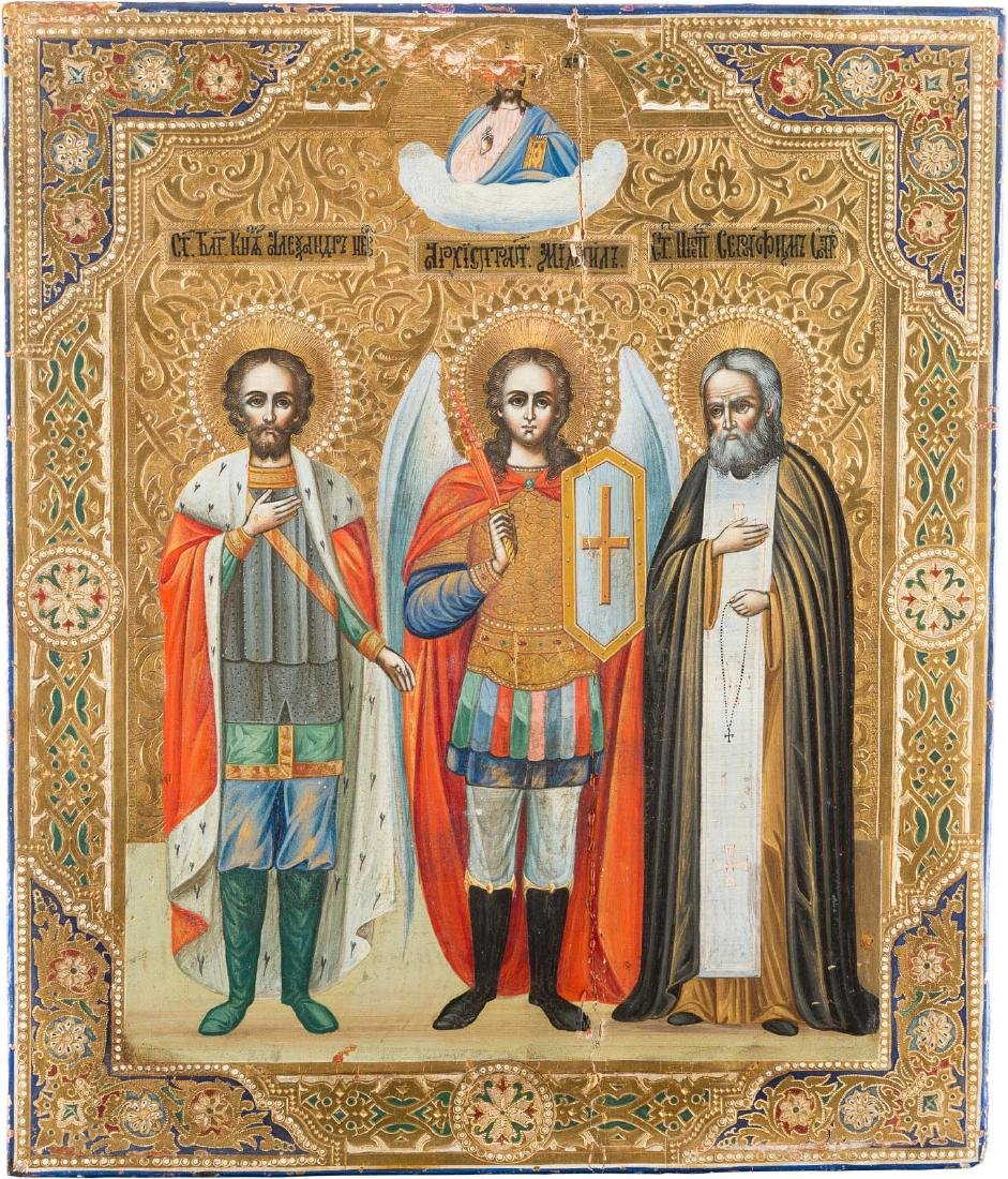 AN ICON SHOWING THREE SELECTED SAINTS Russian, after