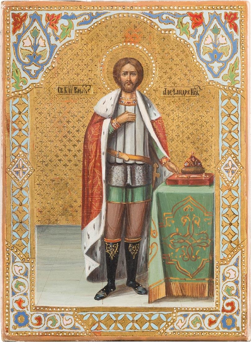 A SMALL ICON SHOWING ST. ALEXANDER NEVSKY Russian,