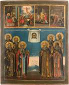 A LARGE ICON SHOWING FEASTS AND SELECTED SAINTS
