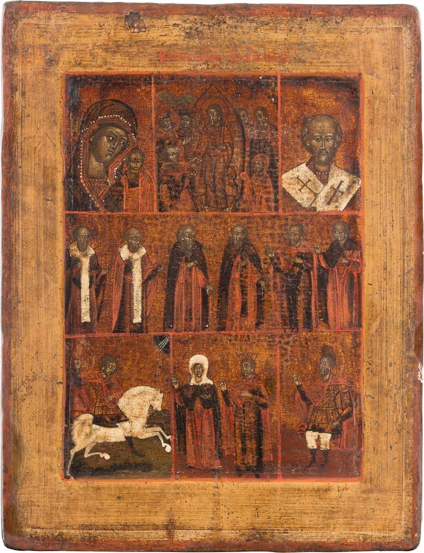 MULTIPARTITE-ICON Russian, ca. 1800. Tempera on wood