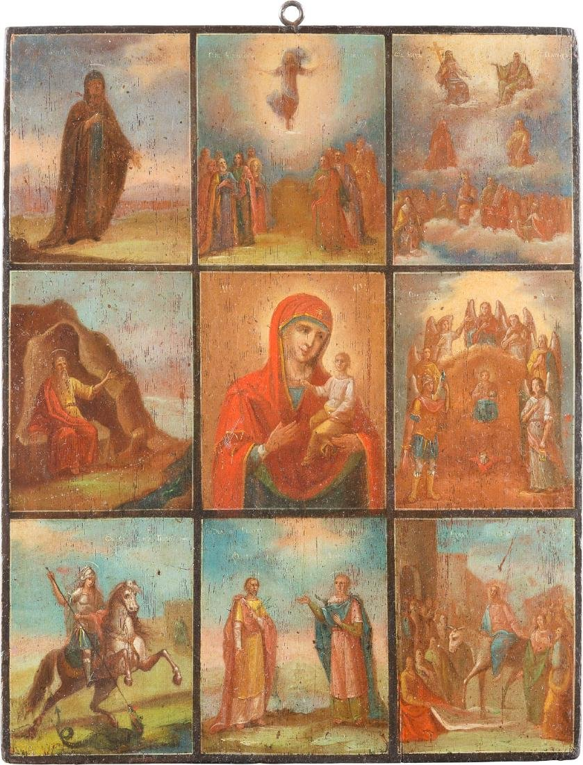 MULTIPARTITE-ICON Russian, 19th century. Oil on wood