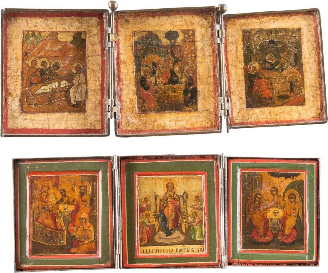 TWO TRIPTYCHONS Russian, 18th/ 19th century. Tempera on