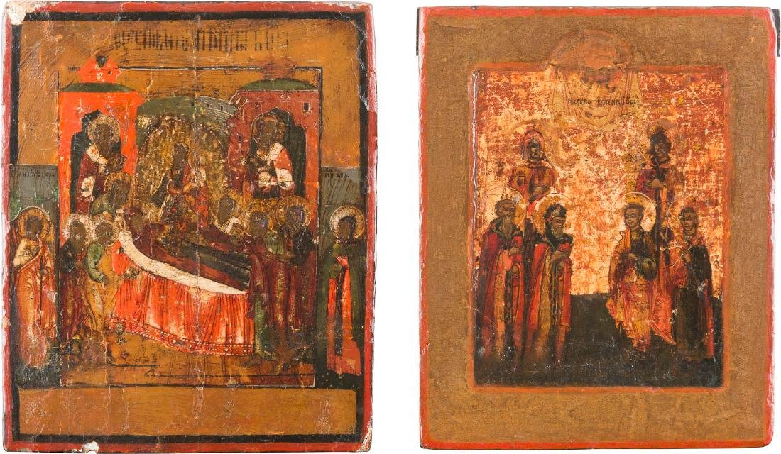 TWO SMALL ICONS SHOWING SELECTED SAINTS AND THE