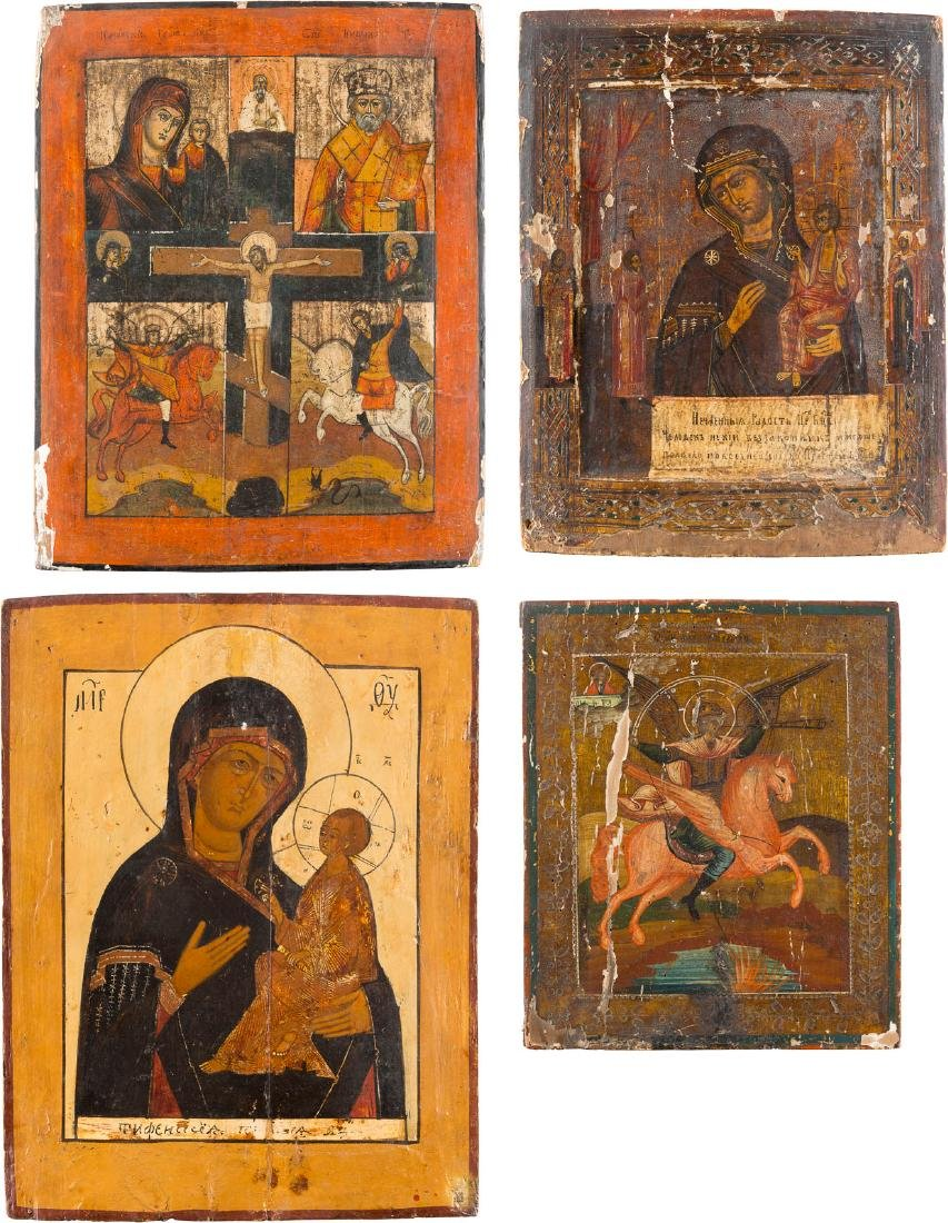 A COLLECTION OF FIVE ICONS Russian, 19th century.