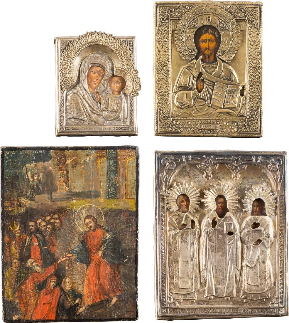 FOUR ICONS: DESCENT INTO HELL, MOTHER OF GOD OF KAZAN,