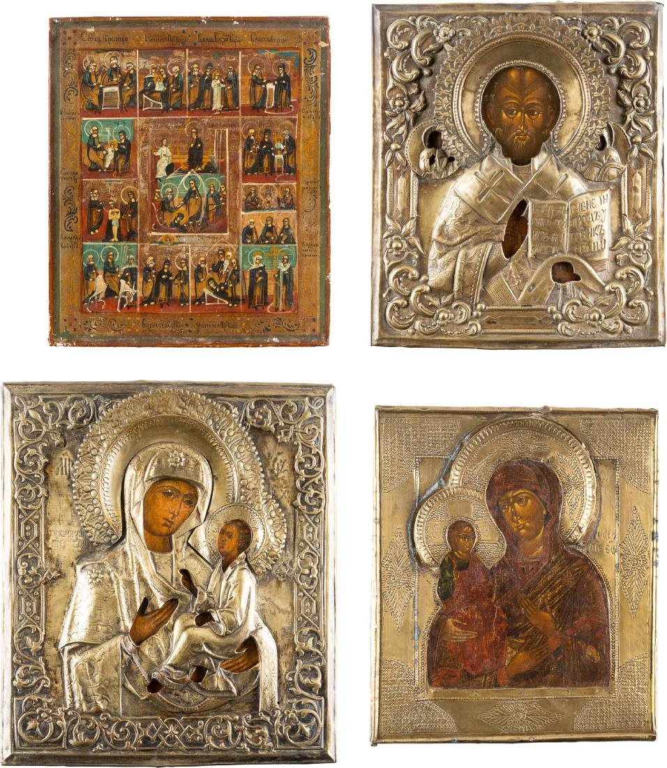 A COLLECTION OF FOUR ICONS Russian, 19th century.