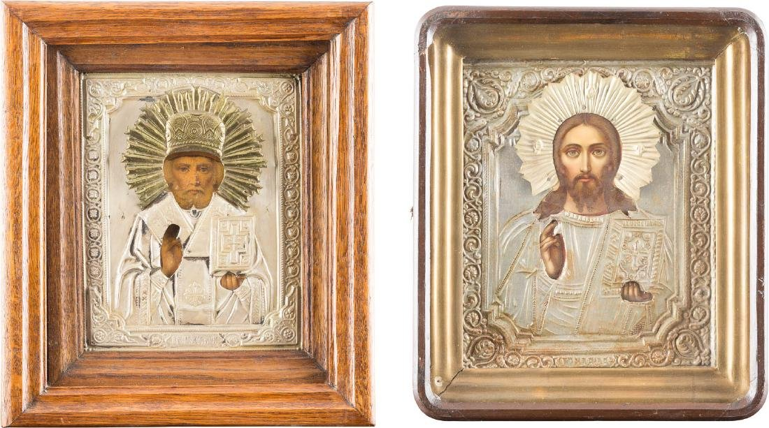 TWO ICONS WITH OKLADS AND KIOTS: CHRIST PANTOCRATOR AND