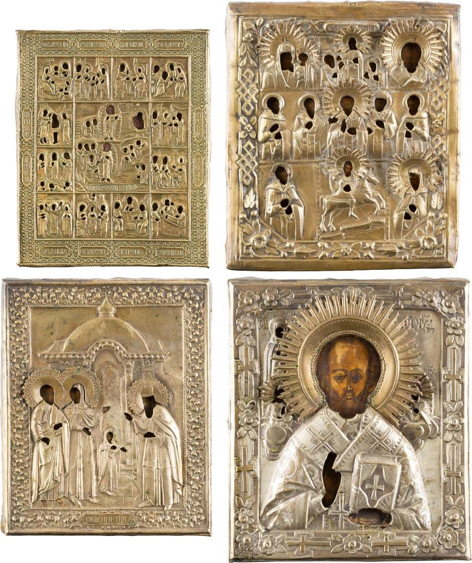 A COLLECTION OF FOUR ICONS Russian, 18th/ 19th century.