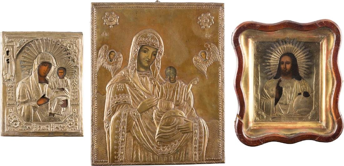 THREE ICONS: TWO IMAGES OF THE MOTHER OF GOD AND CHRIST