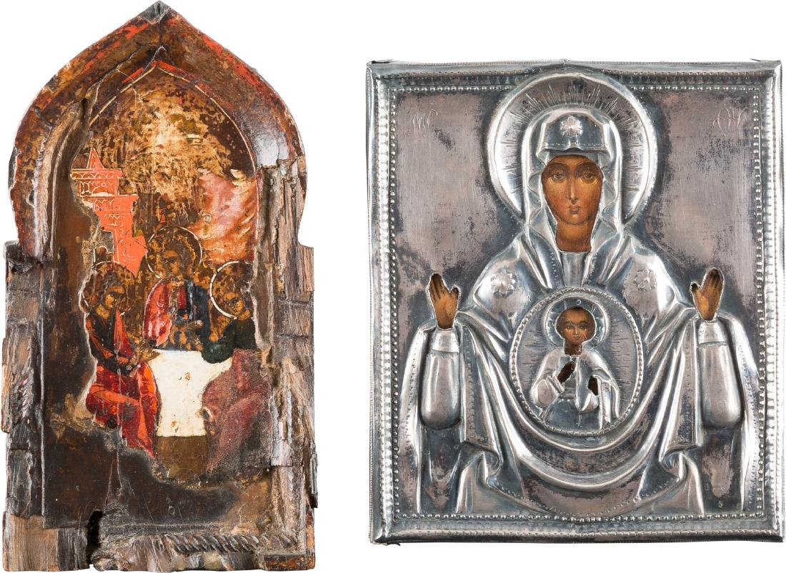 TWO ICONS SHOWING THE MOTHER OF GOD OF THE SIGN WITH