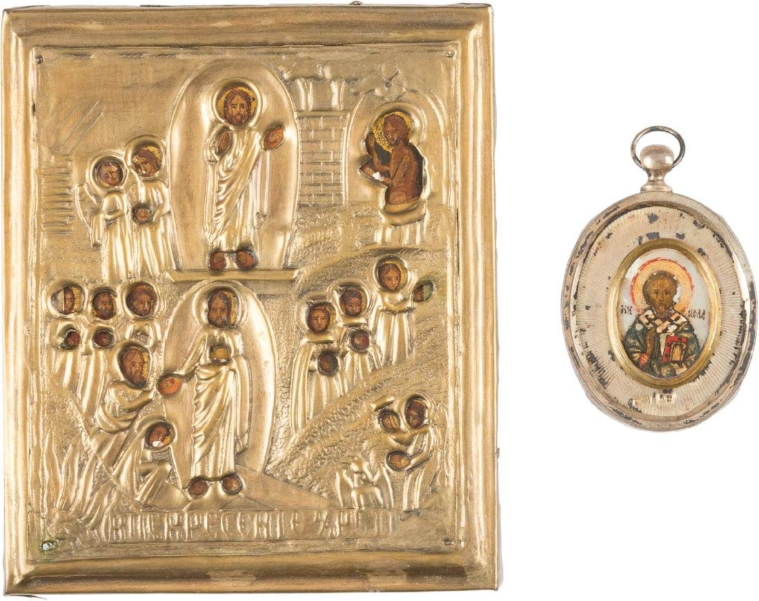 A SILVER-MOUNTED BREAST ICON SHOWING ST. NICHOLAS OF