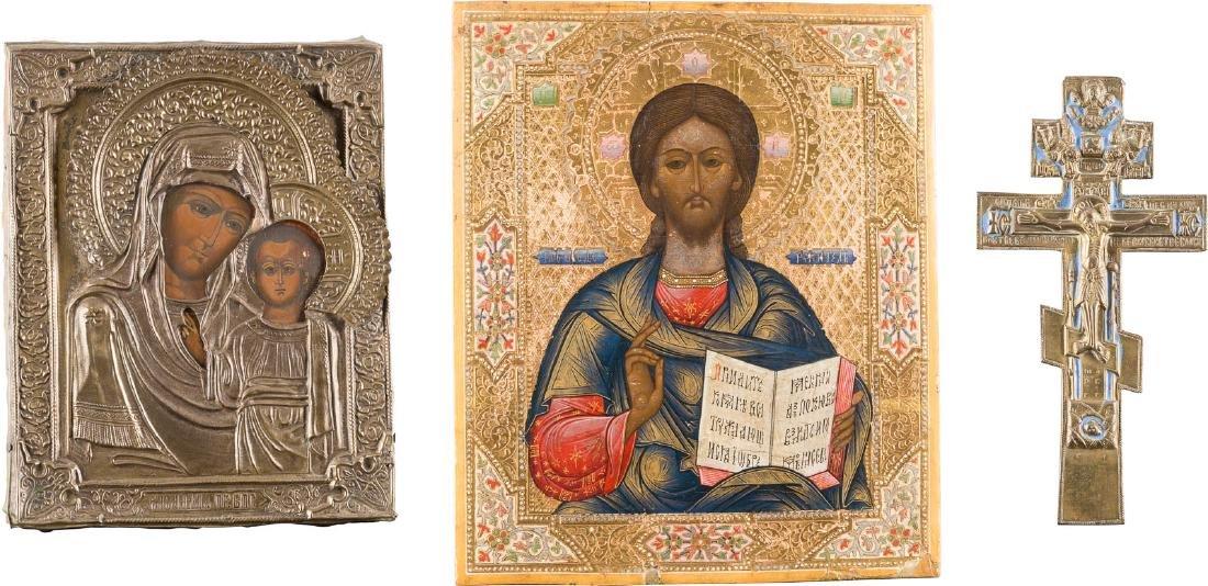 THREE ICONS: CHRIST PANTOCRATOR, MOTHER OF GOD OF KAZAN