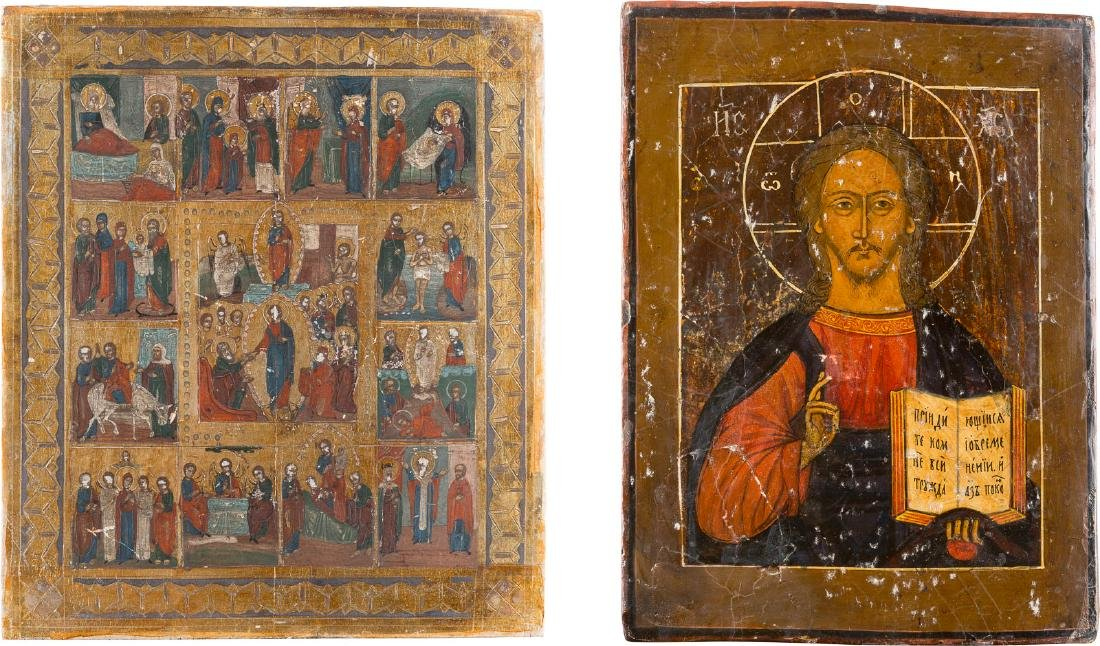 TWO ICONS: CHRIST PANTOCRATOR AND RESURRECTION WITH