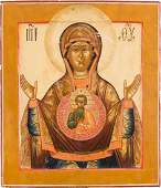 A LARGE AND FINE ICON SHOWING THE MOTHER OF GOD OF THE