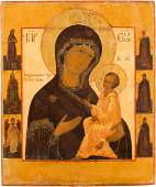 A FINE ICON SHOWING THE TIKHVINSKAYA MOTHER OF GOD