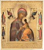 A FINE ICON OF THE MOTHER OF GOD OF PASSION WITH RIZA