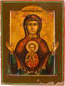 A SMALL ICON SHOWING THE MOTHER OF GOD OF THE SIGN