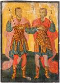 AN ICON SHOWING TWO WARRIOR SAINTS Greek, 19th century
