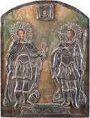 A LARGE ICON SHOWING TWO WARRIOR SAINTS AND THE