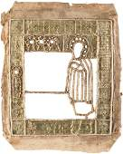 AN EMBROIDERED RIZA OF AN ICON SHOWING ST. SERGEY OF