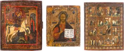 THREE ICONS CHRIST PANTOKRATOR A FEAST ICON AND ST