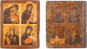 TWO QUADRIPARTITE ICONS SHOWING IMAGES OF THE MOTHER