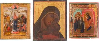 THREE ICONS THE KASPEROVSKAYA MOTHER OF GOD THE