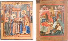 TWO LARGE ICONS SHOWING THE NATIVITY OF THE MOTHER OF