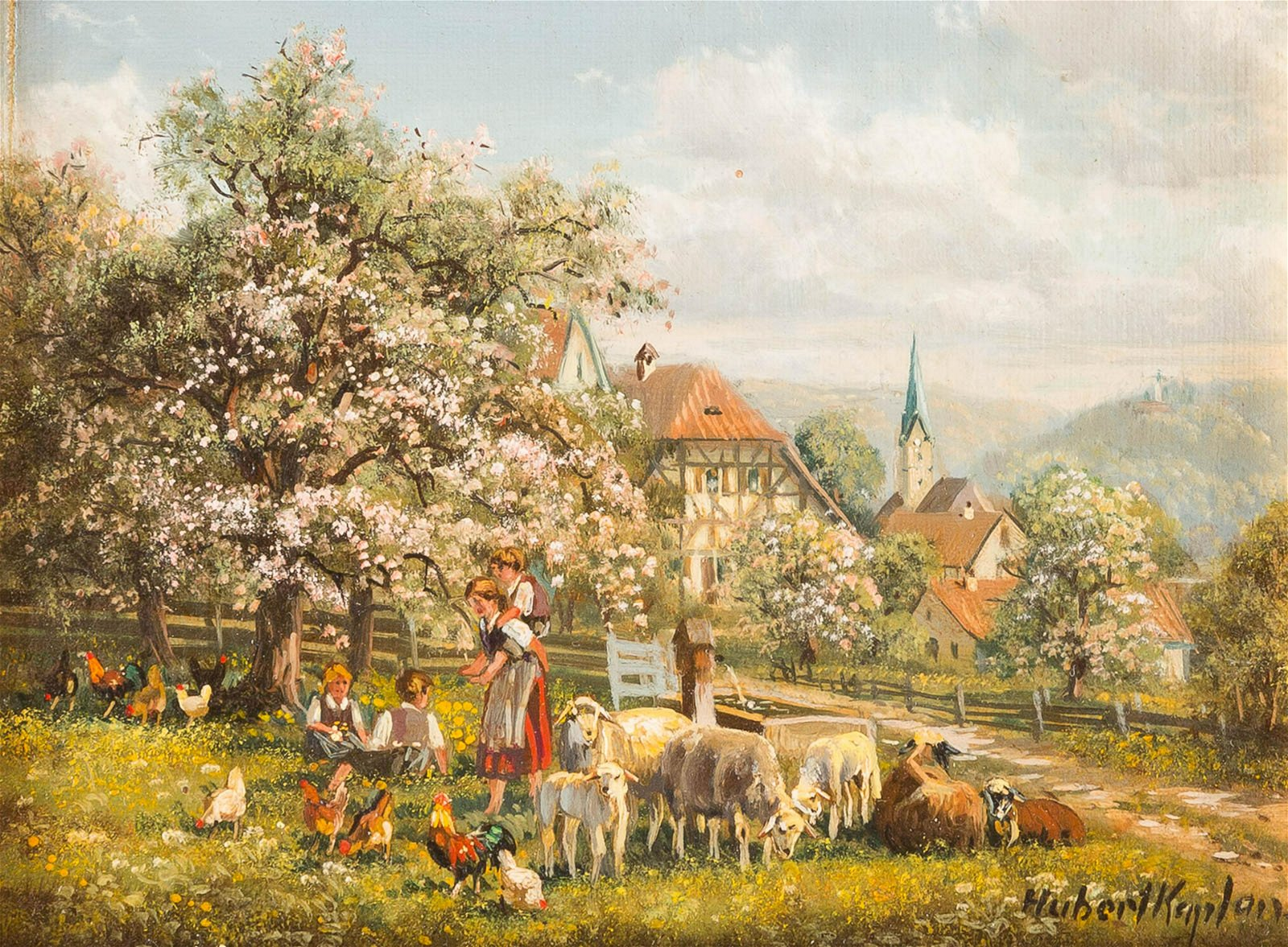 HUBERT KAPLAN 1940 Munich Domestic idyll in a village