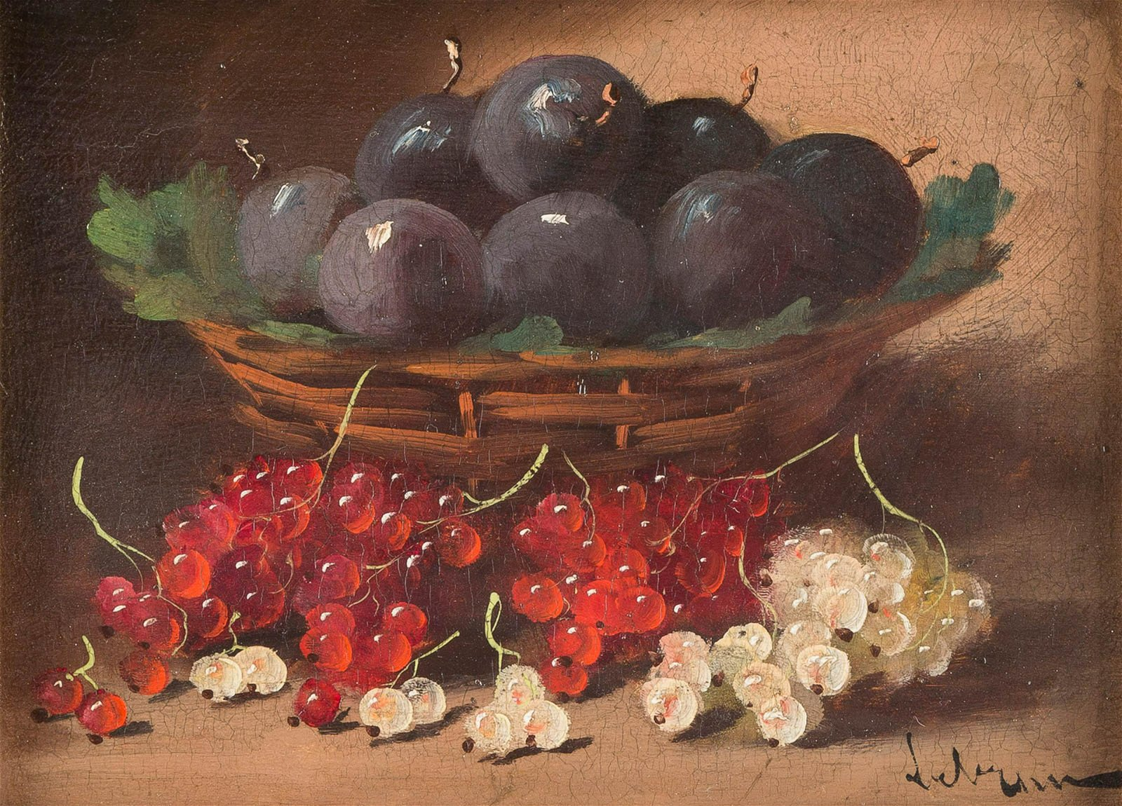 LEBRUN Active 1st half 20th C. Still life with plums