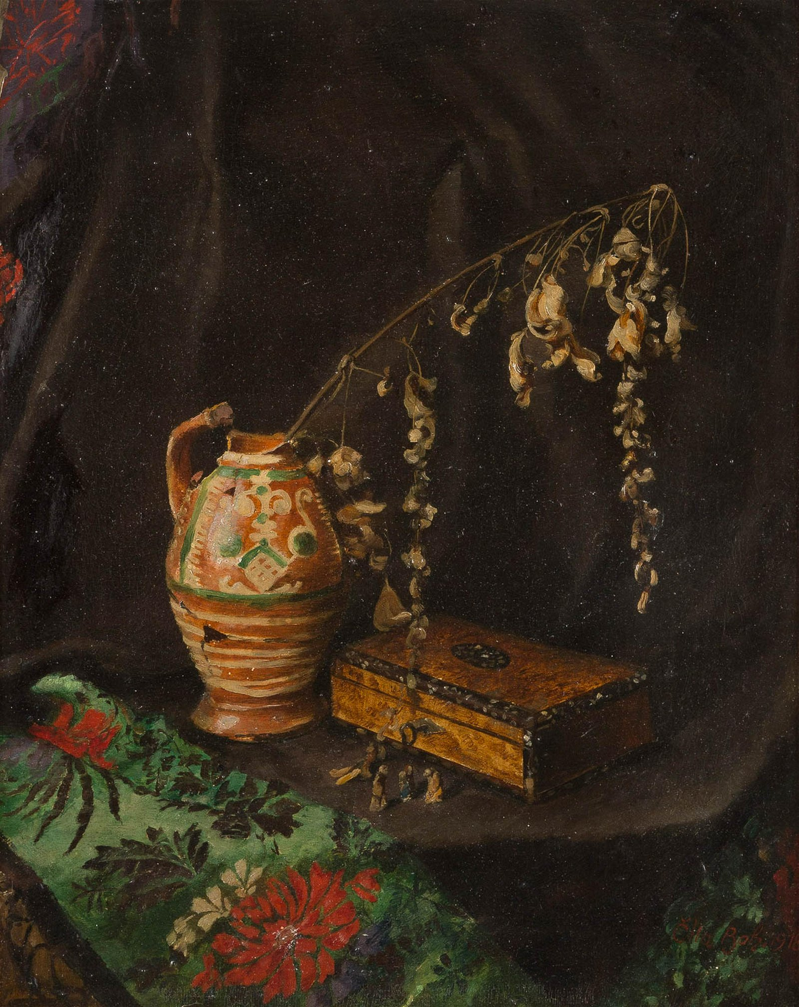 CZECH PAINTER Act. c. 1918 Still life with ceramic and