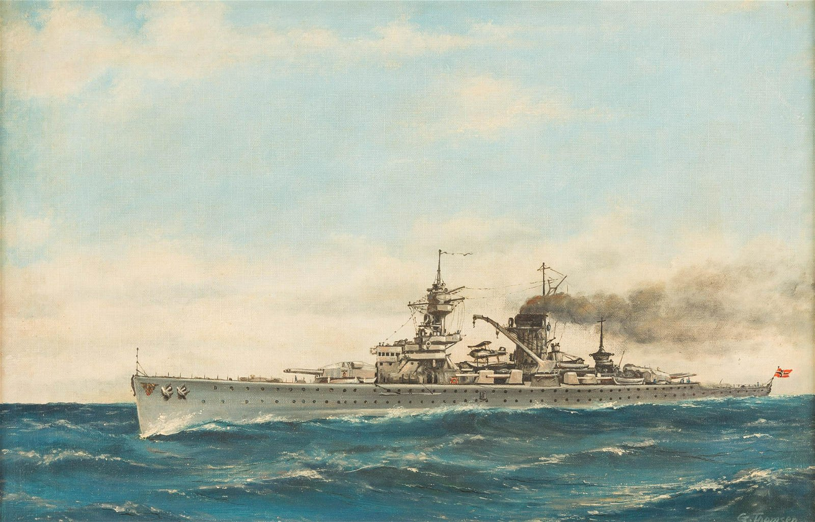 G. THOMSEN Act. 1st half 20th C. German warship Oil on