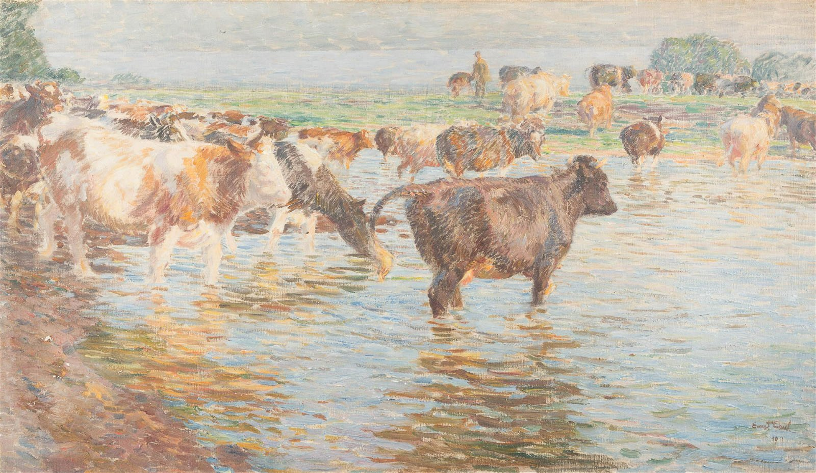 ERNST PAUL 1877 - 1947 Cows in the ford Oil on canvas.