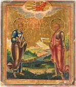 KLEINE IKONE MIT DEN APOSTELN PETRUS UND PAULUS