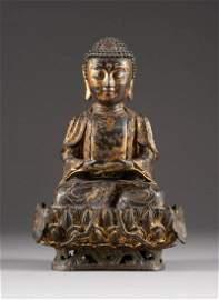 GUANYIN-DARSTELLUNG China, Ming-Dynastie Bronze, Reste