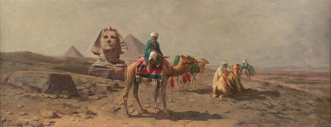 F. PERCY Act. c. 1900 Nocturnal rest at the pyramids of
