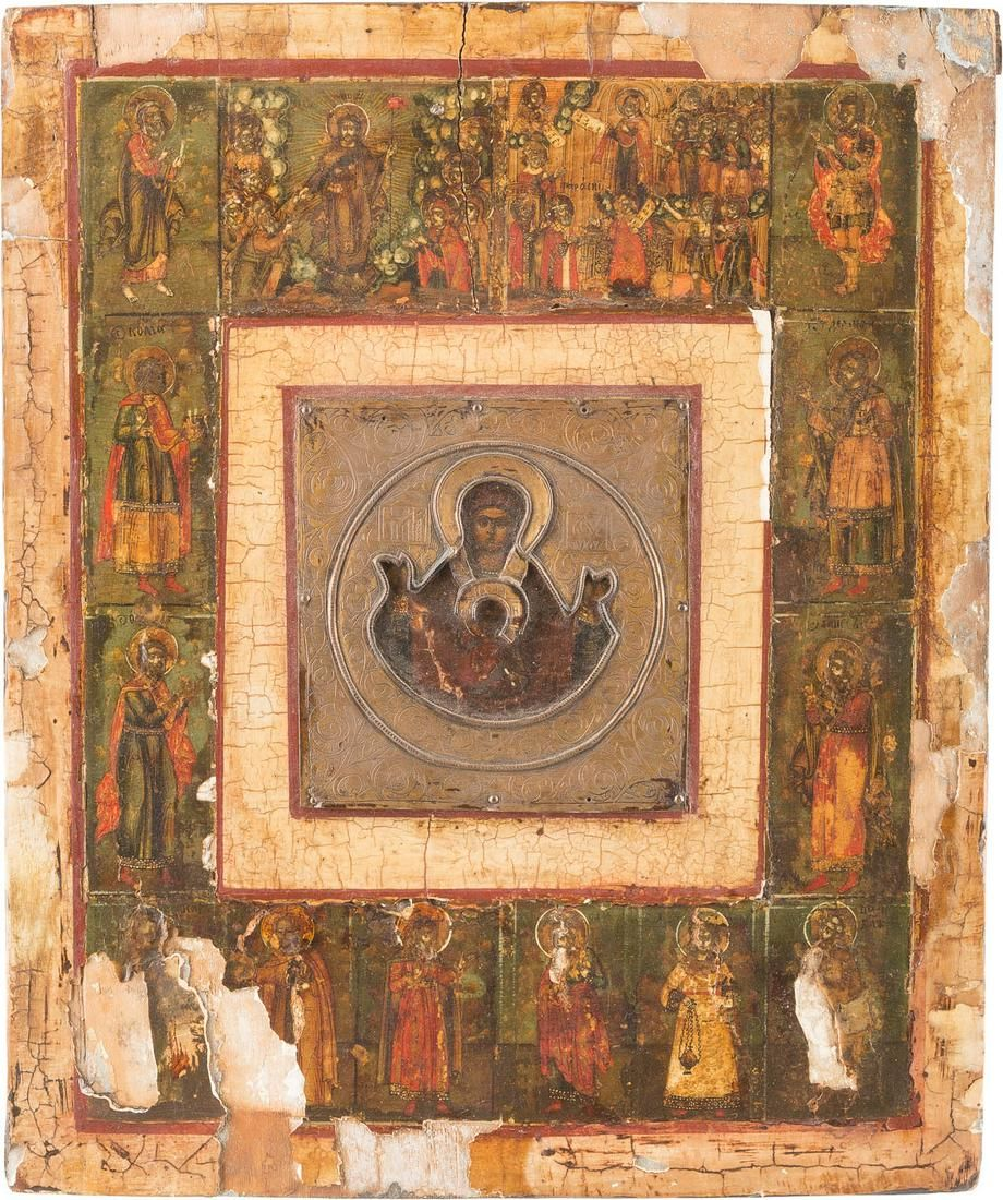 AN ICON SHOWING THE MOTHER OF GOD OF THE SIGN AND