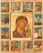 A LARGE SIGNED ICON SHOWING THE MOTHER OF GOD OF KAZAN