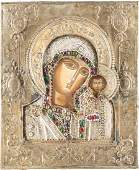 AN ICON SHOWING THE KAZANSKAYA MOTHER OF GOD WITH RIZA