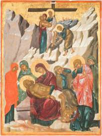 AN IMPORTANT AND LARGE ICON SHOWING THE DESCENT FROM