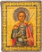 A SMALL ICON SHOWING WARRIOR SAINT ST GEORGE Russian