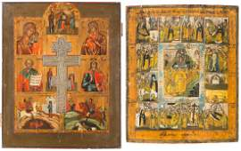 TWO LARGE ICONS: A STAUROTHEK ICON SHOWING IMAGES OF