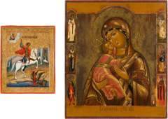 AN ICON SHOWING THE VLASIMIRSKAYA MOTHER OF GOD WITH AN