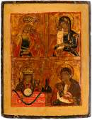A QUADRIPARTITE ICON SHOWING IMAGES OF THE MOTHER OF