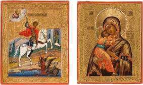 TWO SMALL ICONS SHOWING THE THE VLADIMIRSKAYA MOTHER OF