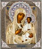 A VERY FINE ICON SHOWING THE IVERSKAYA MOTHER OF GOD