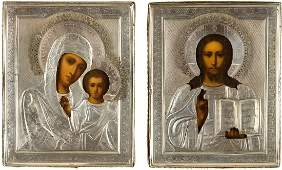 A PAIR OF WEDDING ICONS WITH SILVERGILT OKLAD SHOWING