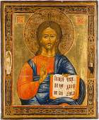 AN ICON SHOWING CHRIST PANTOKRATOR Russian late 19th