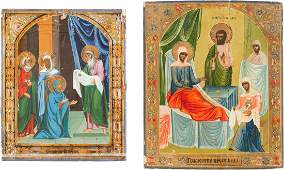 TWO ICONS SHOWING THE NATIVITY OF THE MOTHER OF GOD AND